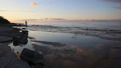 Fishing at Sunset Stock Footage