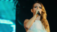 Stock Video Footage of Sandra Nasic (Guano Apes) greets fans at the rock festival The Best City.UA