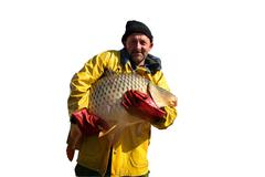 Fisherman Holding a Big Fish Isolated on White - stock photo