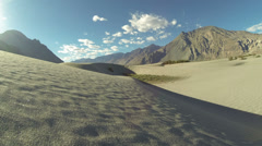 Hundar sand dunes Nubra valley sunny day time lapse Ladakh India Stock Footage