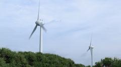 Renewable Wind Energy Turbine In Gale - stock footage