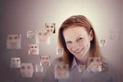 Smiling businesswoman encircled by digital interface Stock Illustration