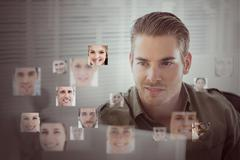 Handsome man encircled by digital interface Stock Illustration