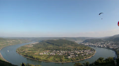 Fisheye Para Glider Hang Gliding flying Rhine valley Boppard Stock Footage