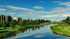 River blue sky time lapse Panoramic Stock Footage