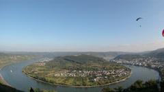 Fisheye Para Glider Hang Gliding flying Rhine valley Boppard Stock Footage