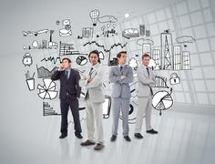 Business people standing in front of graphics Stock Illustration