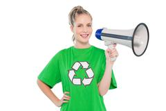Happy environmental activist holding megaphone Stock Photos