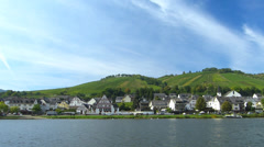 Pan Mosel Moselle Zell river valley Rhineland-Palatinate Germany Stock Footage