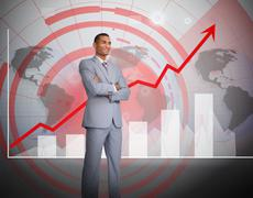 Attractive businessman standing in front of graphics - stock illustration