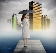 Smiling businesswoman standing on bridge in front of colorful city Stock Illustration