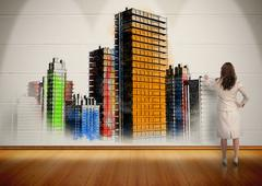 Businesswoman painting colorful city on wall Stock Illustration