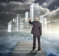 Stock Illustration of Rear view of mature businessman touching white holographic city