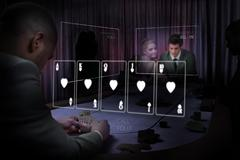 Casino white holographic card display in gambling room Stock Photos