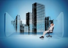 Businessman on swivel chair looking at holographic city - stock illustration