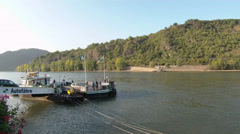 Fisheye Car Ferry crossing Rhine river Boppard Rhineland-Palatinate Germany Stock Footage