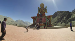 Maitreya Buddha at Diskit monestary Nubra valley time lapse Stock Footage