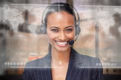 Attractive smiling businesswoman using futuristic interface hologram - stock illustration