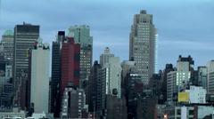 New York 174 Manhattan, Part of Skyline West Side, Hudson River Stock Footage