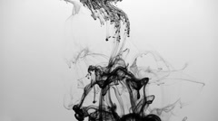 B&W ink in water - stock footage