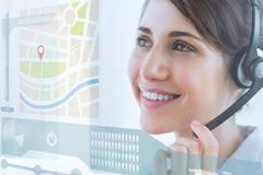 Pretty call center employee using futuristic interface hologram - stock illustration