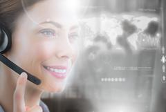 Cheerful call center employee looking at futuristic interface hologram - stock illustration