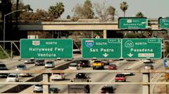 Los Angeles freeways, city traffic Stock Footage