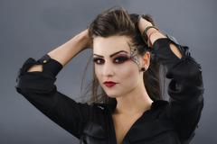 beauty portrait of young glamour beautiful halloween woman - stock photo