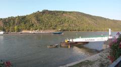 Fisheye Car Ferry crossing Rhine river Boppard Rhineland-Palatinate Germany Stock Footage