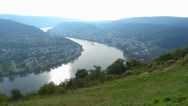 Stock Video Footage of Pan Barge passing curve of Boppard Rhine river valley Rhineland-Palatinate