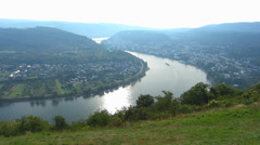 Pan Barge passing curve of Boppard Rhine river valley Rhineland-Palatinate - stock footage