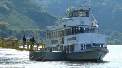 Cruise Ferry boat on Mosel Moselle river valley Rhineland-Palatinate Germany Stock Footage