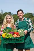 Proud couple showing vegetables in a basket - stock photo