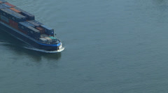 T/L Barge passing Boppard Rhine river valley Rhineland-Palatinate Germany - stock footage