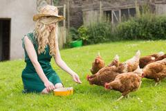 Stock Photo of Young pretty blonde feeding her chickens
