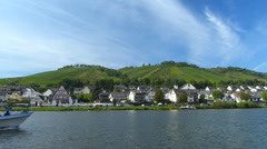 Pan Mosel Moselle Zell river valley Rhineland-Palatinate Germany - stock footage