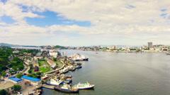 View of russian cargo port Vladivostok. Stock Footage