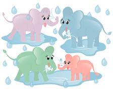 Еlephants - stock illustration