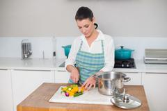 Focused pretty woman chopping vegetables Stock Photos