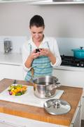 Smiling pretty woman wearing apron texting - stock photo