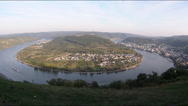 Stock Video Footage of Fisheye Barge passing curve of Boppard Rhine river valley Rhineland-Palatinate