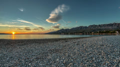Beach Sunset, Timelapse, Croatia Stock Footage