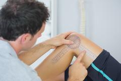 Stock Photo of Physiotherapist checking knee with goniometer