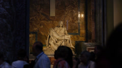 Crowd of Tourists in front of Michelangelos Pieta Stock Footage