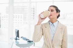 Calm smart brown haired businesswoman drinking coffee Stock Photos