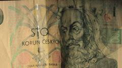 Czech koruna money. closeup dollyshot Stock Footage