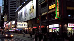 New York 012HD Manhattan, Crossing at Broadway, Musical Theater, Night Stock Footage