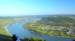 Rhine Valley Boppard river curve Rhineland-Palatinate Germany Stock Footage