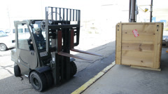 forklift outside with sound - stock footage
