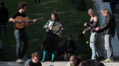 Art performance in Montmartre, Paris  Stock Footage